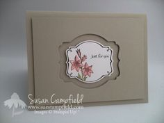 "By Susan Campfield. Using a labels die, die cut a ""window"" in the center of a cardstock panel. Pop up the panel onto a card base of the same color. For the image panel, die cut a label of the same shape but of a smaller size. Stamp image. Pop up image panel onto card base, centering it in the ""window"" you previously die cut. [Susan used Stampin' Up Deco Label Framelits & a stamp set that coordinates with it.]"