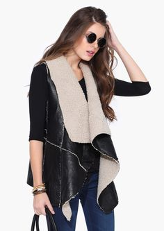 Shearling Vest in Black | Necessary Clothing