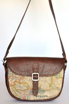 Genuine Leather and World Map Atlas Print Bag by DoubleEdge_- less expensive more alternative to option 1 that i would probably use Kelly Bag, Cowhide Leather, Leather Bag, Lv Handbags, Printed Bags, Bag Sale, Saddle Bags, Purses And Bags, Shoe Bag