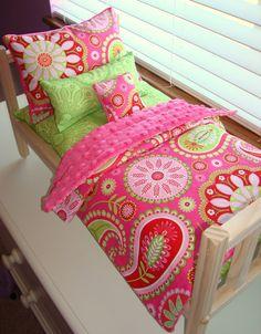 5-piece Fuchsia & Lime Gypsy Bandana Doll Bedding Set Fits American Girl Bed