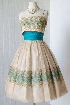 Decadent 1950's embroidered organza full skirt cocktail party dress with tulle crinoline. by Junior Theme New York.