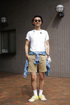 Satoshi in Omotesando wearing CONVERSE, GLCO, RRL, WILDTHINGS | Fashionsnap.com