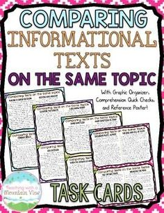16 sets of paired passages informational passages total) to help students compare texts on the same topic or event. Each card includes two passages with an overall main idea and also an individual focus to each passage. Reading Lessons, Reading Skills, Teaching Reading, Reading Strategies, Reading Centers, Guided Reading, Comparing Texts, 6th Grade Reading, Common Core Reading