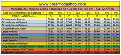 Tabla de Medidas para Ninos 5 a 12 años Diy And Crafts, Periodic Table, Couture, Google, Facebook, Patterns, Sewing, Chic, Sewing Tips