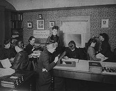 Early photo of 'Pickering's Harem', as the group of women computers assembled by Harvard astronomer Edward Charles Pickering was dubbed. The group included Leavitt, Annie Jump Cannon, Williamina Fleming and Antonia Maury