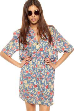 da9ba46f5b Floral Midi Dress 90s Sundress Grunge Ankle Length Red White Blue ...