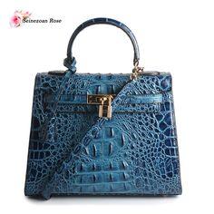 2016 Luxury Women's Genuine Leather Alligator Top-handle Handbags Purses Brands Designer Lock Bags Ladies Leather Totes Bags