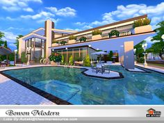 Bowon Modern Found in TSR Category 'Sims 4 Residential Lots' Lotes The Sims 4, Sims Cc, Sims 4 Modern House, Minecraft Plans, Casas The Sims 4, Sims Building, Sims 4 Build, Sims Community, Amazing Buildings