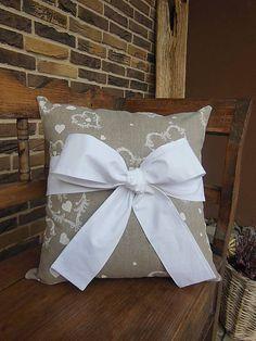 Linen pillow case by shabby.romantic / Ľanový vankúšik White Tenderness