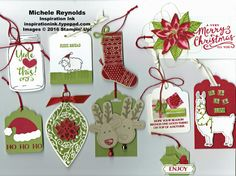 Handmade Christmas gift tags using Stampin' Up! products - Jar of Cheer…