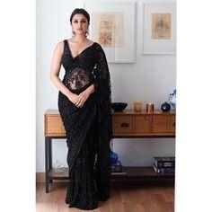 BFFs Sania Mirza, Parineeti Chopra and Farah Khan Steal Thunder At Bachchan's Diwali Bash - HungryBoo Sari Design, Sari Blouse Designs, Black Blouse Designs, Diwali Fashion, Indian Fashion, Parineeti Chopra, Bollywood Saree, Bollywood Gossip, Bollywood Actress