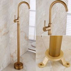 Antique Brass One Lever Floor Mounted Freestanding Tub Faucet & Swivel Spout
