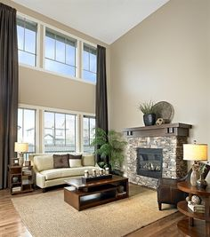 living room color goes well with white-high slanted ceiling