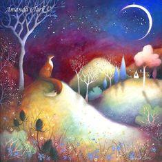 Large mounted print titled 'Starry Meadows' by Amanda Clark - fairytale art, mounted art print, landscape art, fox art Art Fox, Fuchs Illustration, Clark Art, Fairytale Art, Naive Art, Wildlife Art, Whimsical Art, Beautiful Artwork, Landscape Art