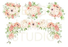 Watercolor PEACH ROMANCE design spring watercolor flower