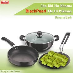 This #Navratri cook delicious vrat special Banana Barfi in the shades of green with minimum oil only on Vinod #BlackPearl #Cookware