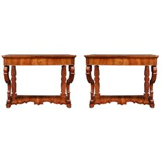 Pair of Italian 19th Century Charles X Style Walnut Console Tables | From a unique collection of antique and modern console tables at https://www.1stdibs.com/furniture/tables/console-tables/
