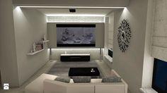Salon-Kuchnia B&W - Średni salon, styl nowoczesny - zdjęcie od Dom-Arts Studio