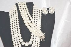 Vintage Matte White Four Strand Necklace Bracelet by LustfulJewels