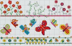 Bright Borders (Part 1) free cross stitch pattern from www.coatscrafts.pl