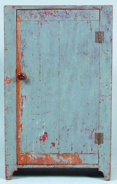 Primitive Softwood Single Door Milk Cupboard. Pie