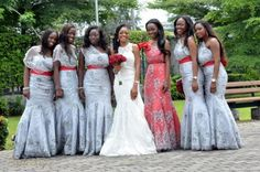 Silver gray & red lace bridesmaids dresses