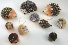 The Bramble and Clover Christmas ornaments are beautifully detailed, front and back. Although they are no longer manufactured, Bramble and Clover hedgehogs can still be found online. Pine Cone Art, Pine Cone Crafts, Natural Christmas Ornaments, Christmas Crafts, Holiday Ornaments, Pine Cone Decorations, Christmas Decorations, Leaf Template Printable, Seed Art