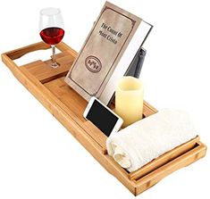 LANGRIA Bamboo Bathtub Caddy Tray with Extending Sides Mug/Wineglass/Smartphone Holder Metal Frame Book/Pad/Tablet Holder with Waterproof Cloth Detachable Sliding Tray Non-Slip Rubber Base - - out of 5 stars - Bathtub Tray Jacuzzi Bathtub, Bathtub Tray, Bathtub Caddy, Bathtub Board, Bathtub Shelf, Luxury Bathtub, Bath Tub, Smartphone Holder, Tablet Holder
