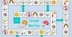 """Spielfeld """"Unser Wetter""""   Wie versprochen folgt heute noch die DAZ- Version des Spielfelds  von gestern. Das Spielfeld liegt in zwei Versi..."""