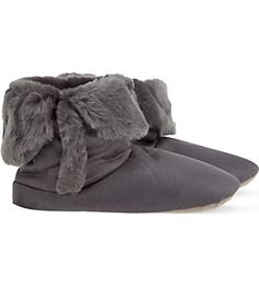 THE WHITE COMPANY Fold-down faux fur-lined slipper boots (Dusk