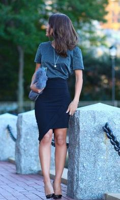 Street style   Grey t-shirt, black asymmetrical skirt, heels, fur clutch