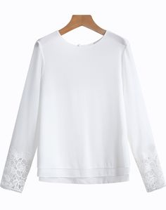 White Round Neck Contrast Lace Blouse - Sheinside.com