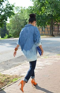 Outfit idea with an oversized denim shirt.