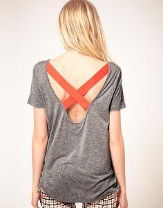 jersey t-shirt with neon strap detail ++ baum und pferdgarten
