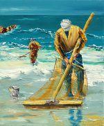 peinture; huile au couteau; les pecheurs de crevettes