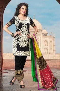 $113.5 Black Embroidered Silk Designer Punjabi Salwar Kameez 25845