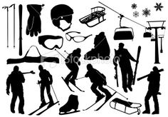 Ski silhouettes Royalty Free Stock Vector Art Illustration