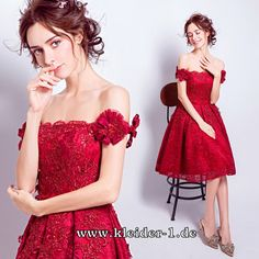 A-Linie Abendkleid Knielang Anduela in Rot