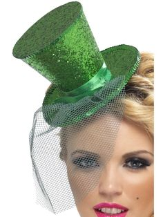 Mini green glitter top hat with attached green net veil. Perfect for your next Halloween costume! San Patrick, Glitter Top, Green Glitter, Costume Hats, Costume Dress, Men's Costumes, Irish Costumes, Halloween Accessories, Costume Accessories