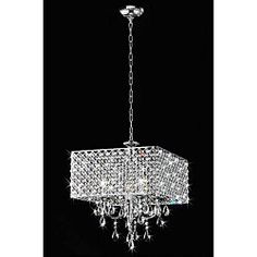 @Overstock - Light up your home with this elegant square chrome chandelier. This stunning piece features crystal and is designed to be used with four candelabra bulbs. The chandelier is meant for indoor use and can light rooms up to 300 square feet in size.http://www.overstock.com/Home-Garden/Chrome-Crystal-4-light-Square-Chandelier/4737579/product.html?CID=214117 $194.99