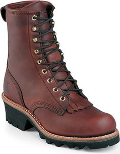 Chippewa Women's Redwood Logger Boots - Boots and Shoes - Women's American Made Boots, Doc Martens Boots, Steel Toe, Boots Online, Brown Leather Boots, Lace Up Boots, Fashion Boots, Combat Boots, Moda Masculina