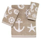 Make everyday a day at the beach in your home with this charming Sea and Sand Hand Towel from Avanti. This soft cotton jacquard towel in sand and white, features a variety of ocean inspired motifs for a fun beachside touch. Nautical Bath, Nautical Gifts, Coastal Bedding, Coastal Decor, Hand Towel Sets, Hand Towels, Fingertip Towels, Beach Gifts, Embroidered Towels