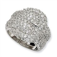 Cubic Zirconia Rings - Sterling Silver CZ Buckle Ring