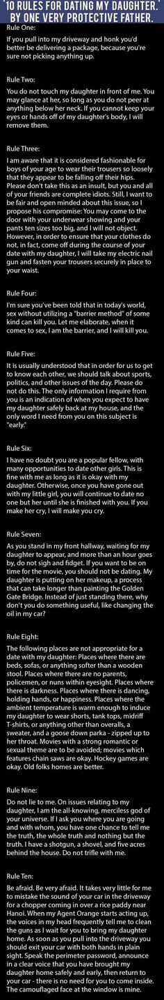 10 Rules For Dating My Daughter By One Very Protective Dad funny jokes story lol... http://lolsalot.com/10-rules-for-dating-my-daughter-by-one-very-protective-dad-funny-jokes-story-lol/ #Funny #Pic