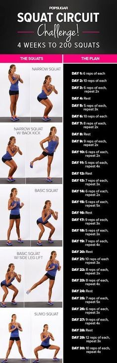 Heres the ultimate butt workout! 10 Different Squat Variations to try to give you the round, toned booty you want! #squats #booty