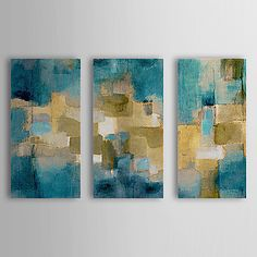 Hand Painted Oil Painting Abstract Blue Sky with Stretched Frame Set of 3 1308-AB0703 – USD $ 95.99