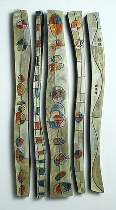 Abstract Time Relief Jewel Columns by Janine Sopp: Ceramic Wall Art - STUDIO SALE available at www.artfulhome.com