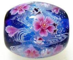 Cherry Blossom over Goldfish Satake Glass Lampwork Round Flower Bead sra