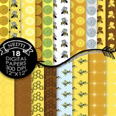 """18 Bee Digital Papers, 12"""" x 12"""", Instant Download, Yellow Brown Black White, JPEG, Printables, Scrapbooking Kit, Collage Sheet, Gift Wrap etsy $3.75"""