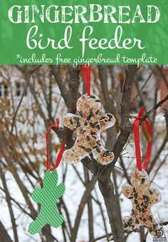 This is for the birds! Easy gingerbread man craft. It includes a small gingerbread man template.